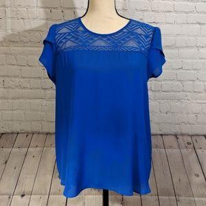 Blue Loose Fit Meraki Blouse W/Lace Sz L 100%Poly